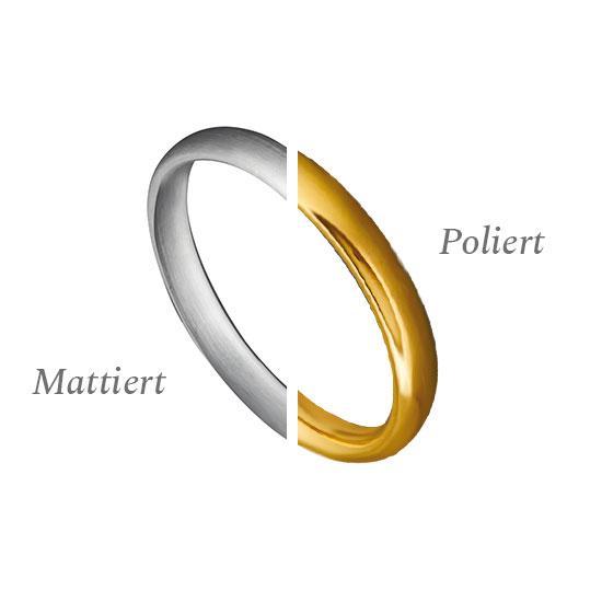 Gold mattiert - Gold poliert