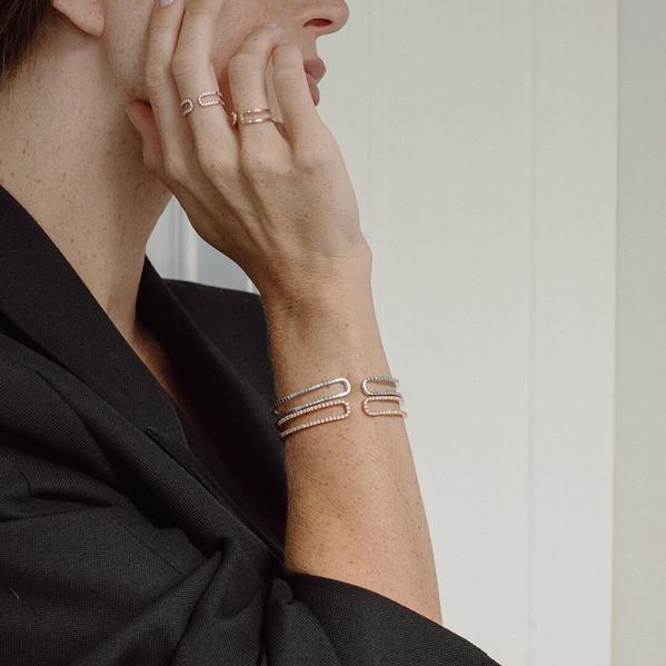 Wagner Riviere-Flow Armreif Ring 18 Karat Gold