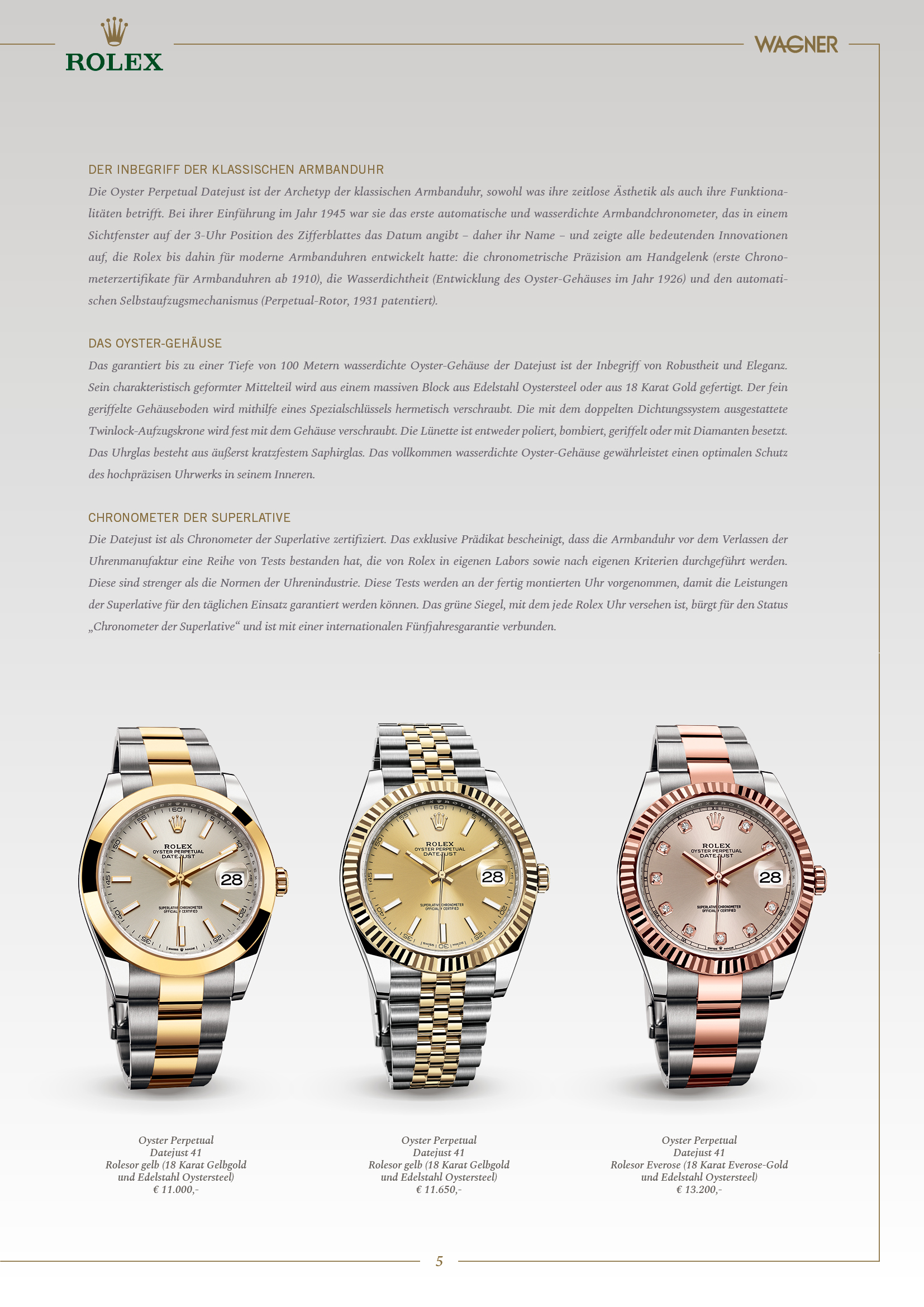 Wagner Newsletter Special Edition Rolex 2019